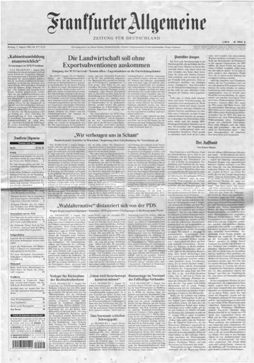 Photo of front page of Frankfurter Allgemeine Zeitung (a newspaper)