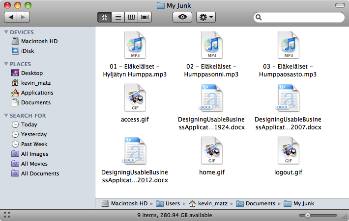 "Mac OS ""Finder"" window showing files of different types with corresponding icons"