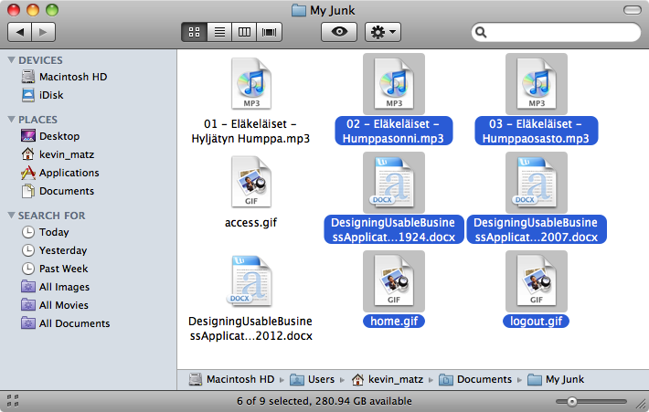 "Mac OS ""Finder"" window with six of nine icons selected; the selected icon"