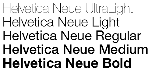 Helvetica Neue typeface in different weights